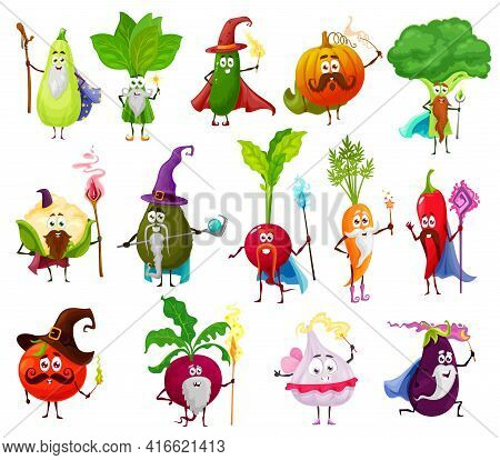 Magician, Witch, Wizard Veggies Vector Characters. Vegetable Cartoon Fairy And Sorcerer Wizards. Pep