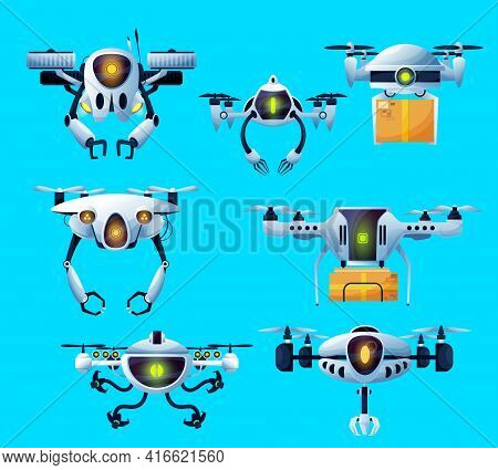 Drone Robots, Flying Technology And Delivery Parcels, Vector Remote Control Aircraft. Robot Drones W