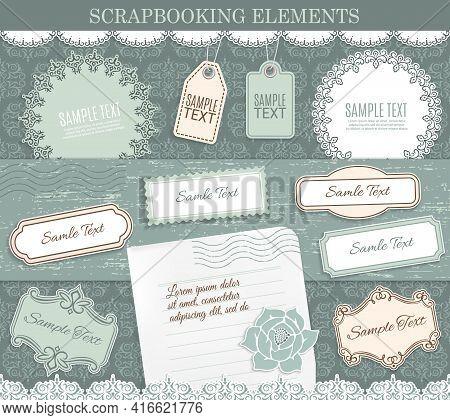 Scrapbooking Elements, Vector Paper Stickers. Design Elements For Scrapbook Decoration On Background
