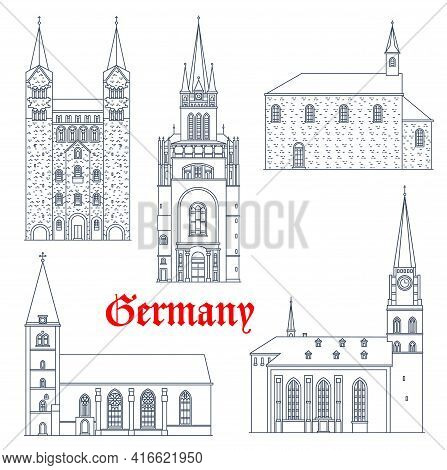 Germany Travel Landmarks, Gothic Castles And Cathedrals Vector Icons, Germany Buildings. St Maria Ch