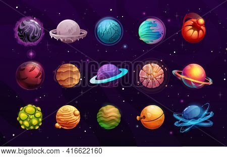 Planets Of Alien Or Fantasy Space Cartoon Vector Space Game Ui. User Interface Elements Of Another W