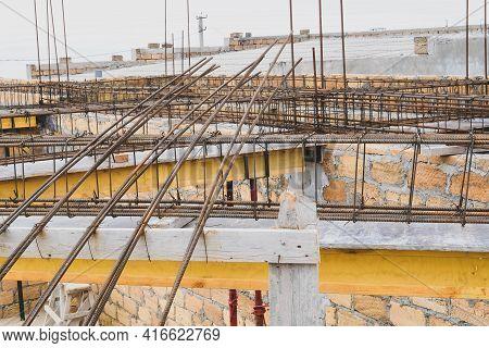 Monolithic Frame Construction Of The Building. Massive Brick Walls.  Reinforcement Metal Framework F
