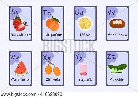 Colorful Alphabet Letter S, T, U, V, W, X, Y, Z - Strawberry, Tangerine, Udon, Vatrushka, Watermelon