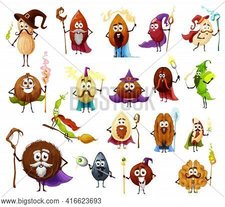 Nut, Seed And Bean Magician And Wizards Cartoon Vector Characters Cute Witch And Fairy. Almond, Pean