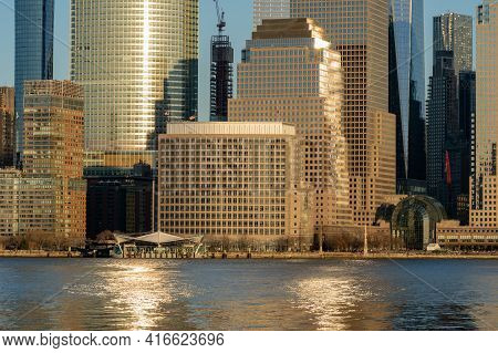 New York, Ny - Usa - Feb. 27, 2021: Landscape View Of Manhattan's Brookfield Place Ferry Terminal An