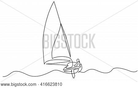Sailing Boat On Wave Of Sea. Continuous One Line Drawing