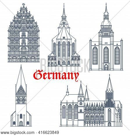 Germany Landmark Buildings Architecture, Vector Icons Of Gothic Churches And Cathedrals. Germany Lan
