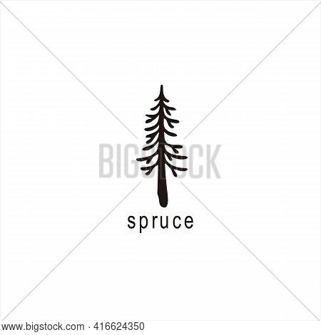 Black Silhouette Of Fir Tree. Christmas Tree. Simple Tree Icon. Nature Concept. Black Tree With Outl