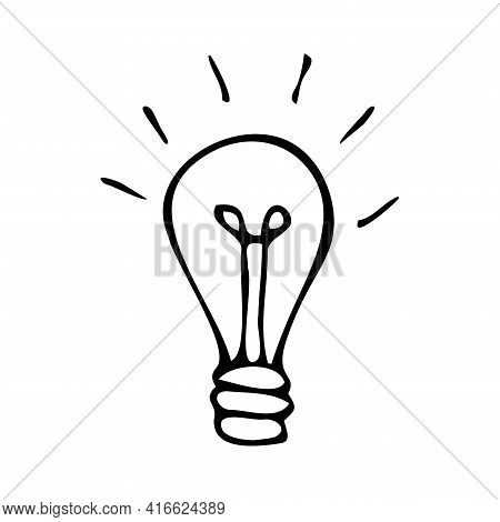 A Hand-drawn Lamp. Doodle Light Bulb Isolated On White Background