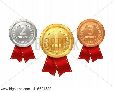 Medal With Ribbon Vector Icons Of Sport Prize, Reward Certificate, Winner Trophy Or Champion Honor A