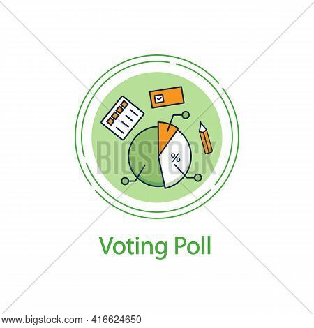 Voting Poll Concept Line Icon. Candidates Rating Pie Chart.electoral Infographics.vote Percentage.vo