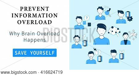 Information Overload Web Banner. Template For Landing, Web Page, Layout. Consists Of Instant Messagi