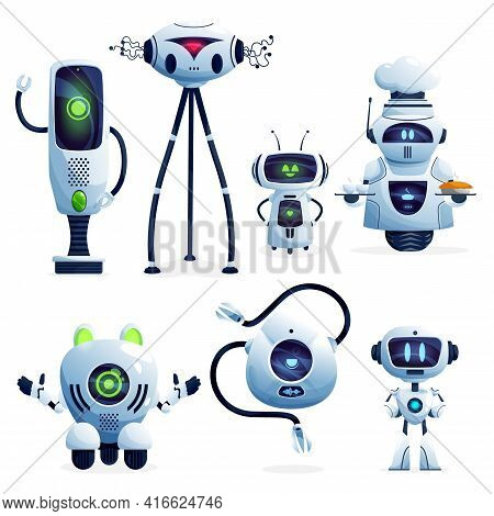 Ai Robot Cartoon Characters With Vector White Robotic Machines, Modern Toys, Artificial Intelligence
