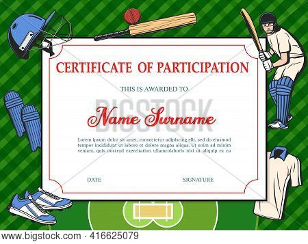 Certificate Of Participation In Baseball Tournament, Sport School Diploma Vector Template With Sport
