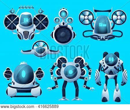 Underwater Robots, Cartoon Submarine Sea Drone, Ocean Rov Deep Water Vehicles. Vector Underwater Rob