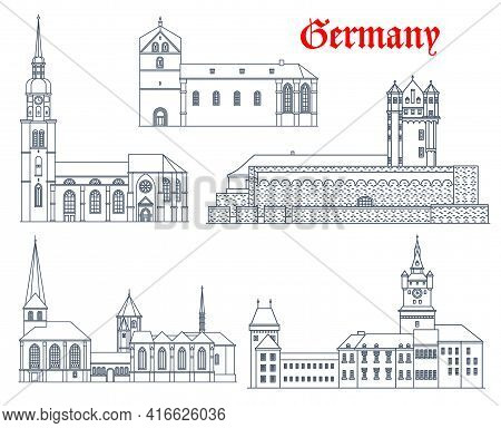 Germany Landmark Buildings, Castles, Cathedrals And Churches, Vector Icons. Germany Landmark Of Muns