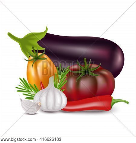 Still Life Of Realistic 3d Vegetables. Vector Fresh Vegetables: Eggplant, Fresh Dark Red And Yellow