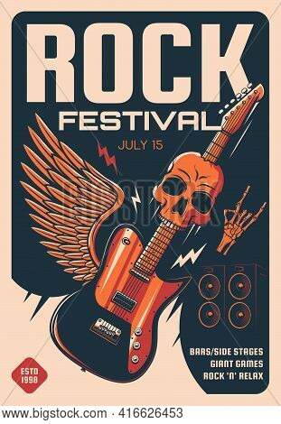 Rock Festival Of Heavy Music Retro Poster. Vector Electric Guitar, Skull And Loudspeakers, Skeleton