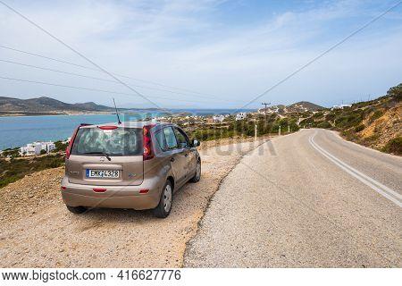 Antiparos, Greece - September 28, 2020: Nissan Note Car Parked On The Roadside In Antiparos Island.