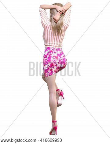 Beautiful Blonde Woman Red Short Dress With Flowers.summer Clothes Collection.bright Makeup.woman St