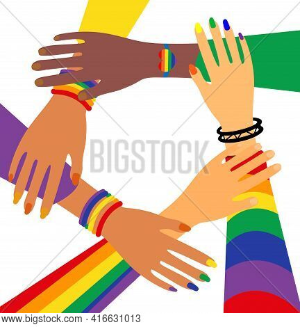 Lgbt Pride Month Holiday, People Are Holding Hands. Lgbtq Vector Illustration