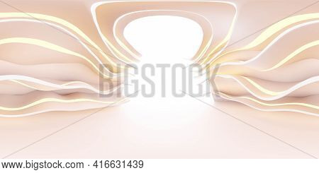 360 Panorama Spherical View Of Abstract Curve White Building Futuristic Red Light 3d Render Illustra
