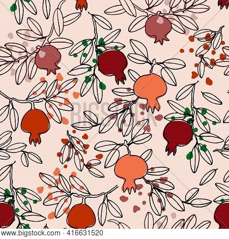 Seamless Pattern In Boho Style. Pomegranate Tree Branches With Fruit. Vector Illustration On Light-c