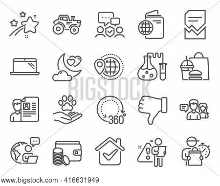 Business Icons Set. Included Icon As Tractor, 360 Degrees, Travel Passport Signs. Chemistry Lab, Peo