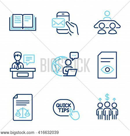 Education Icons Set. Included Icon As Quick Tips, Exhibitors, View Document Signs. Interview Job, Ed