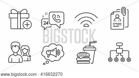 Interview Documents, Teamwork And Hamburger Line Icons Set. 24h Service, Restructuring And Megaphone
