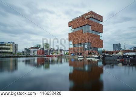 Antwerp, Belgium - 04.29.2018: Low Angle, Long Exposure Shot Of Modern Building Of Mas Museum On A C
