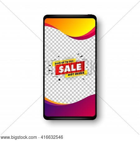 Sale 50 Percent Off Banner. Phone Mockup Vector Banner. Discount Sticker Shape. Hot Offer Icon. Soci