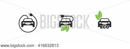 Eco Car Fuel Vector, Bio Electro Transportation Cable With Plug And Leaf Icon Collection.