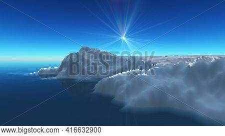 Ice Berg On See, 3d Render Illustration