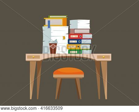 Cluttered Workplace. A Desk With A Chair, A Computer Littered With Documents And Folders. Vector Fla