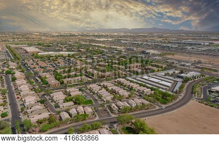 Aerial View Of Mixing Single Family Homes, Apartment Buildings A Residential District A Avondale Nea