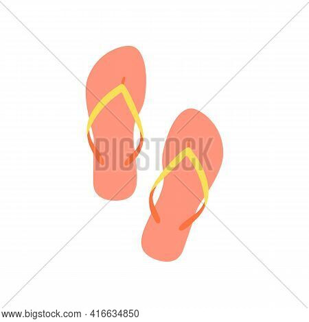 Summer Shoes - Slippers, Sandals. Flip Flops Shoes, Summer Vacation, Simple Vector Illustration - Ic