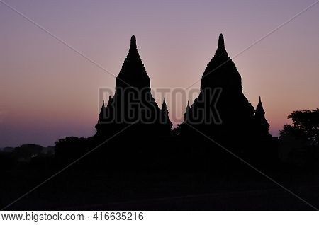 Temples Of Bagan At Night. Myanmar (burma). There Are Over 4,000 Temples And Other Religious Structu