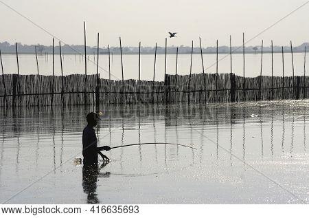 Fisherman Silhouette, Myanmar (burma). Amarapura, Near U Bein Bridge.