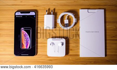 Paris, France - Oct 2, 2018: View From Above At Latest Apple Computers Iphone Xs Gold Color 256gb Sm