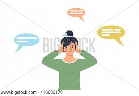Sad Young Woman Surrounded By Negative Thought Forms. Female Character Covers Her Ears With Her Hand