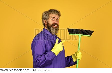 Work Being Hard. Janitor Man Sweeping. Spring Cleaning. Cleaning Service People. Mature Male Worker