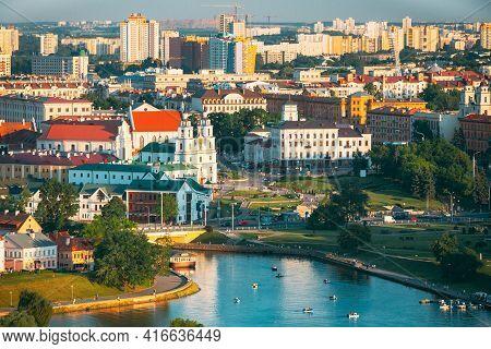 Minsk, Belarus. Cityscape Of Minsk, Belarus. Summer Season, Sunset Time. Nemiga District