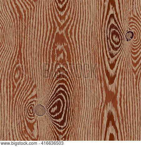 Wood Texture. Brown Wooden Background. Old Textured Piece Of Wood With Scratches, Top View. Highly D