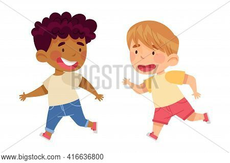 Funny Boys In Kindergarden Running And Laughing Vector Illustration