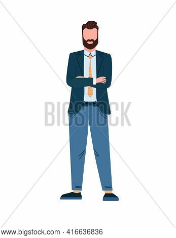 Manager Is Standing With Cross Arms. Successful Business Man In Suit. Caucasian Male In Full Growth.
