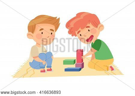 Cute Boys Sitting On The Floor And Playing Construction Toy In Kindergarden Vector Illustration