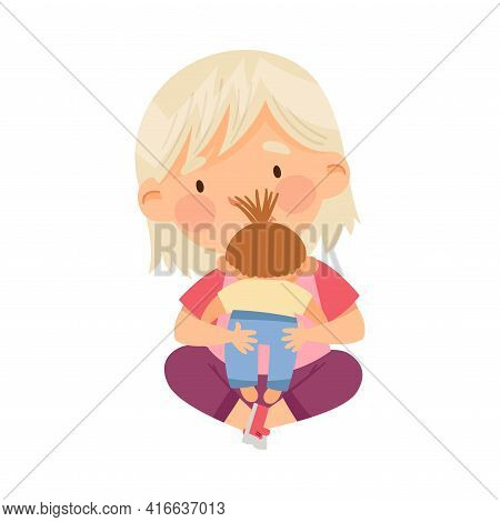 Little Blond Girl Sitting On The Floor And Playing With Toy Doll In Kindergarden Vector Illustration