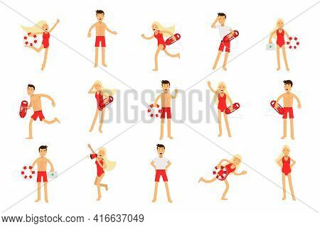 Beach-rescue Man And Woman Character Performing Their Duties Vector Set