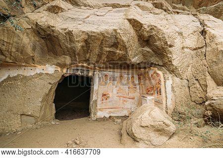 Ancient Frescoes In Walls Of Caves Of David Gareja Monastery Complex. Davit Gareji Monastery Is Loca